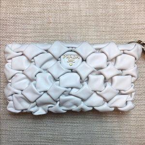 Prada white leather clutch
